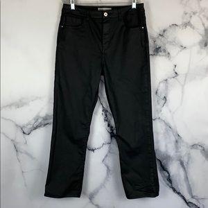 Zara waxed coated straight leg black jeans size 12